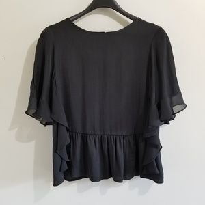 Who What Wear black blouse with frills on sleeves